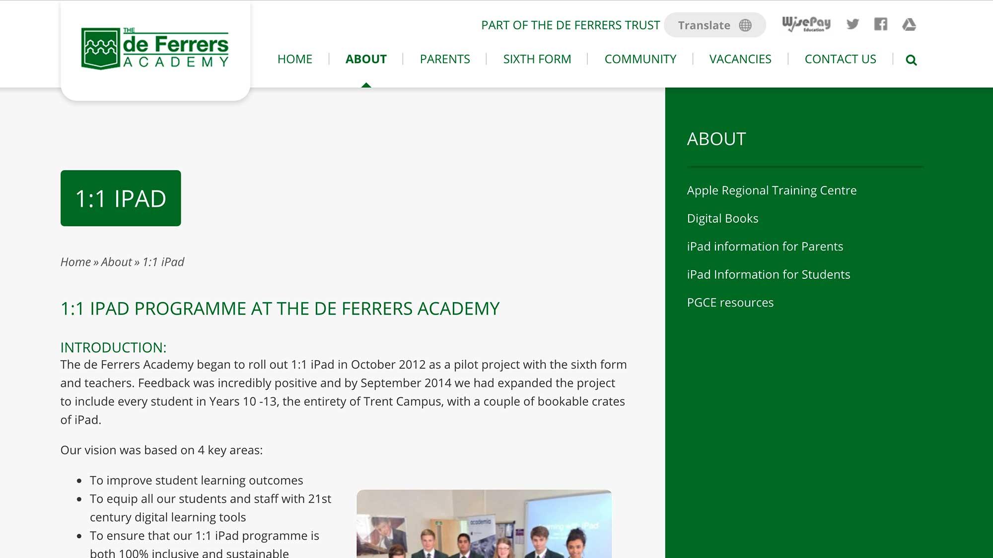 De Ferrers Academy website